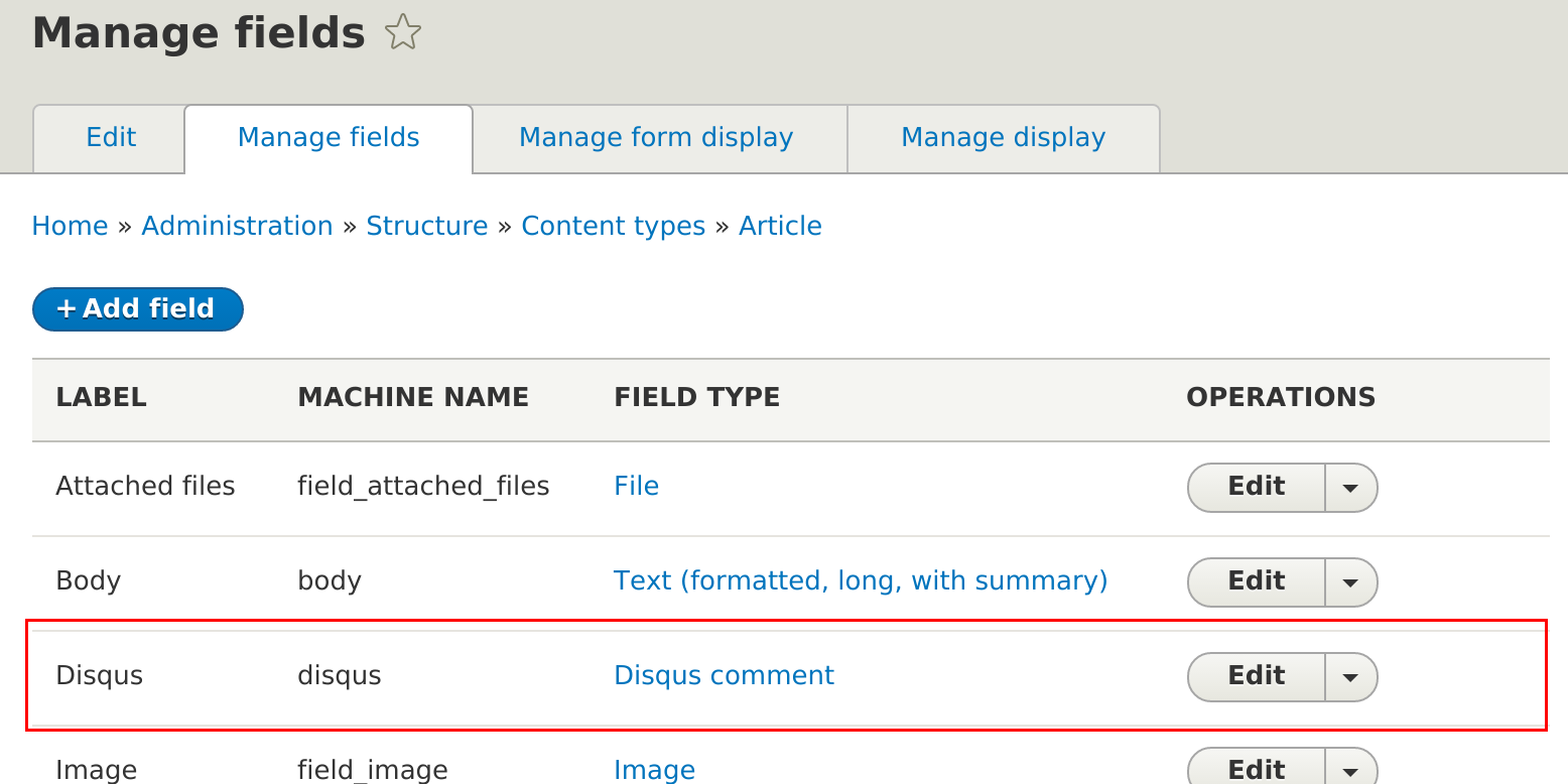 "Disqus on ""manage fields"" page"